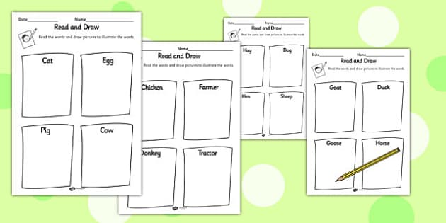 Farm Themed Read and Draw Worksheet - reading, drawing, games