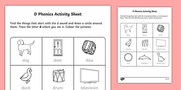 d Phonics Activity Sheet-Irish, worksheet