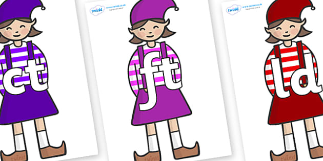 Final Letter Blends on Elf (Girl) - Final Letters, final letter, letter blend, letter blends, consonant, consonants, digraph, trigraph, literacy, alphabet, letters, foundation stage literacy