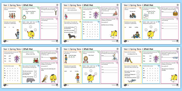 Year 1 Spring Term 1 SPaG Activity Mats - SPaG, spelling, punctuation, grammar, activity, mat, independent, practise