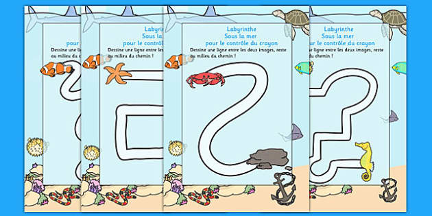 Under the Sea Pencil Control Path Worksheet French - french, under the sea, pencil control path
