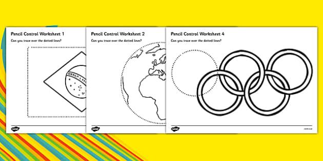 Rio Olympics 2016 Pencil Control Worksheets - rio 2016, rio olympics, rio olympics 2016, 2016 olympics, pencil control, worksheets