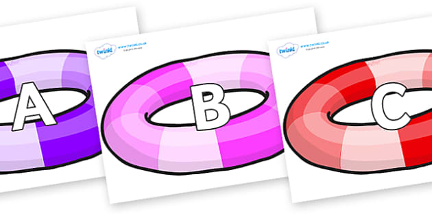 A-Z Alphabet on Inflatable Rings - A-Z, A4, display, Alphabet frieze, Display letters, Letter posters, A-Z letters, Alphabet flashcards