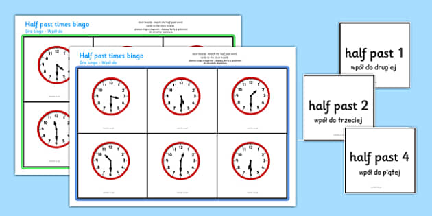 Half Past Bingo Polish Translation - polish, Time bingo, time game, Time resource, Time vocabulary, clock face, Oclock, half past, quarter past, quarter to, shapes spaces measures