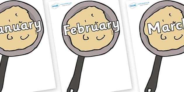 Months of the Year on Pancakes - Months of the Year, Months poster, Months display, display, poster, frieze, Months, month, January, February, March, April, May, June, July, August, September