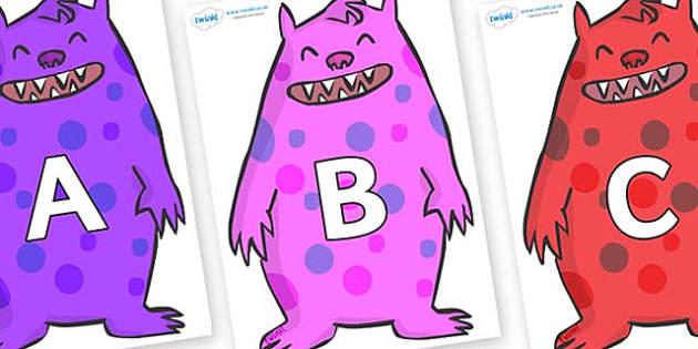 A-Z Alphabet on Monsters - A-Z, A4, display, Alphabet frieze, Display letters, Letter posters, A-Z letters, Alphabet flashcards