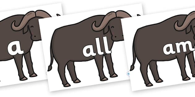 Foundation Stage 2 Keywords on Buffalos - FS2, CLL, keywords, Communication language and literacy,  Display, Key words, high frequency words, foundation stage literacy, DfES Letters and Sounds, Letters and Sounds, spelling
