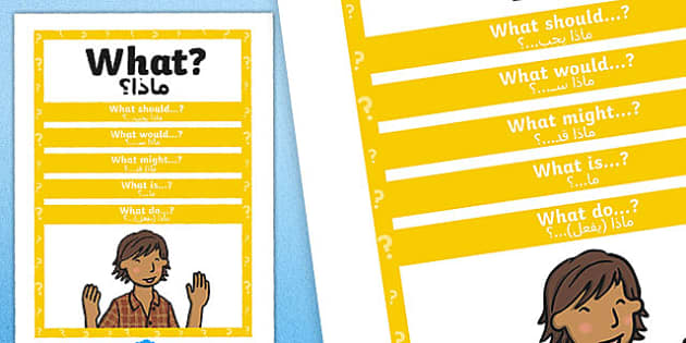 What Question Poster Arabic Translation - posters, displays, display, questions, eal, mfl,