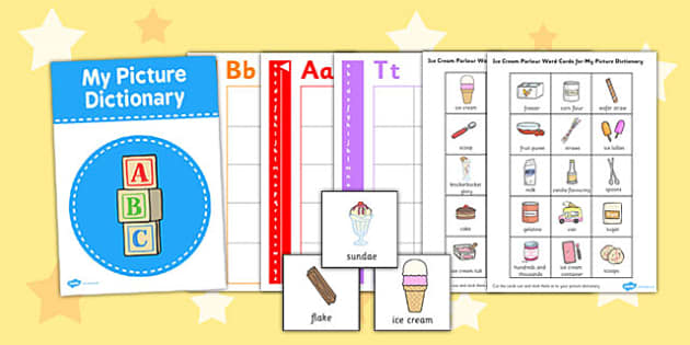 Ice Cream Parlour Picture Dictionary Word Cards - ice cream
