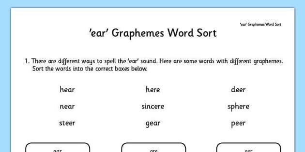 Phase 5 ear Graphemes Word Sort - phase 5, graphemes, word sort, activity, word, sort, ear