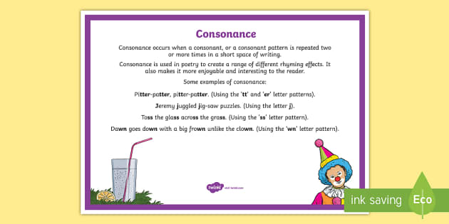 Consonance Poetry Terms A4 Display Poster - Literacy, Interpreting, analysing, evaluating, english, poetry, writing, poems, poetry, consonance,