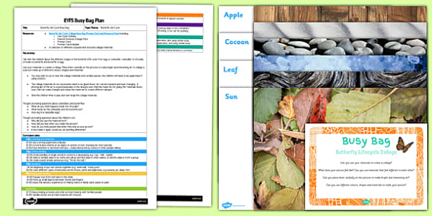 Butterfly Life Cycle Collage EYFS Busy Bag Plan and Resource Pack - nature, growth, art, craft, early, years, planning, scheme, provision