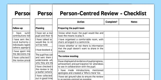 Person Centred Review Checklist - person centred review, sen, person centred, checklist