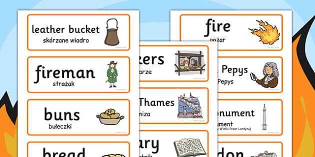 The Great Fire of London Word Cards Polish Translation - polish