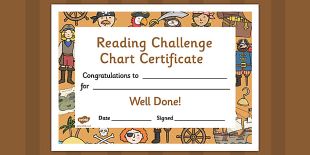 Reading Challenge Chart Certificates Pirate Themed - Reading Challenge Chart Certificates, Pirate Themed Certificate, Reading Certificate