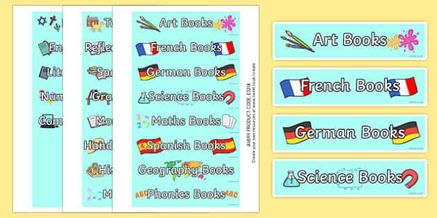 Book Tray Labels - book, tray labels, tray, labels, display, indentify
