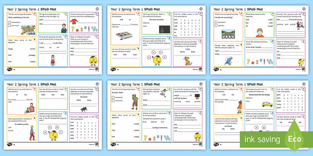 Year 2 Spring Term 1 SPaG Activity Mats - SPaG, spelling, punctuation, grammar, activity, mat, independent, practise