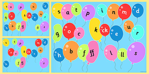 Phase 2 Phonemes on Popping Balloons PowerPoint - phase 2, pop