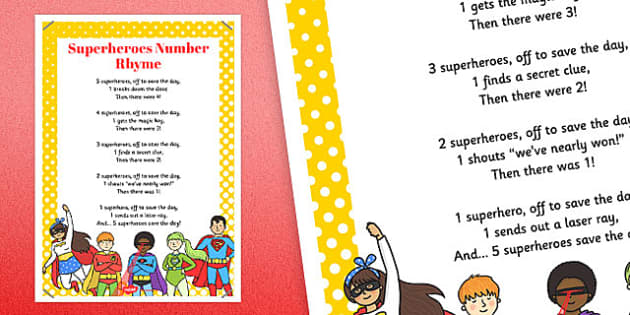 Superheroes Number Rhyme Poster - superheroes, number, rhyme
