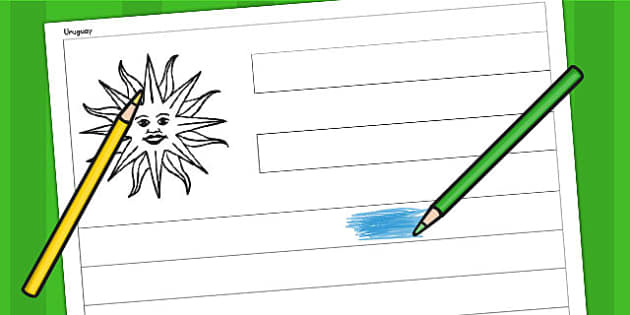 Uruguay A4 Colouring Flag - geography, flags, country, colour in