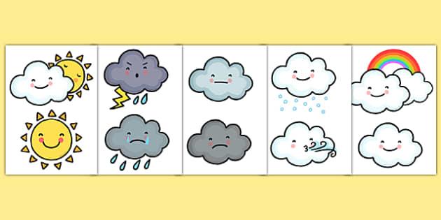Weather Symbol Cut Outs - Weather, Cut Outs, Weather Symbols, Weather Symbol Cut Outs , Weather Cut Outs