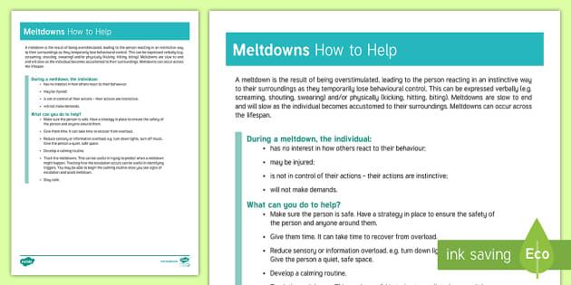 Meltdowns How to Help Information Sheet - autism, meltdown, tantrum, behaviour management, sensory overload