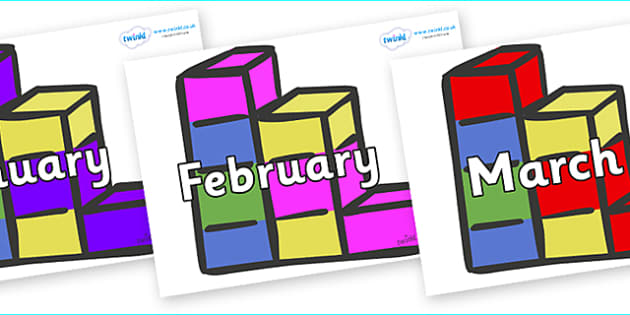 Months of the Year on Building Bricks - Months of the Year, Months poster, Months display, display, poster, frieze, Months, month, January, February, March, April, May, June, July, August, September