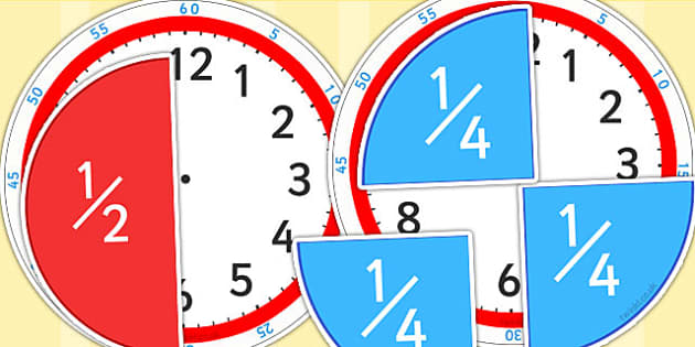 Fractions of Time Teaching Activity - fractions, time, clock, Analogue time, half past, quarter past, quarter to