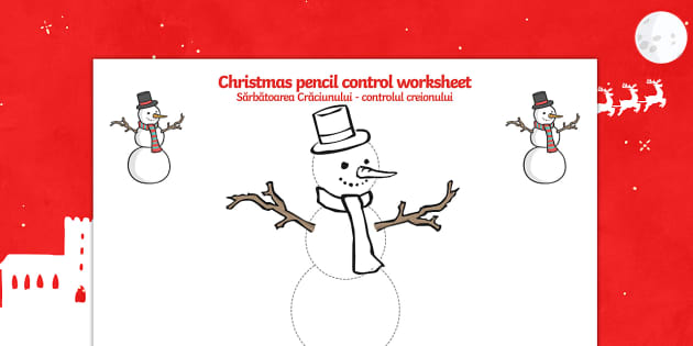 Christmas Themed Snowman Pencil Control Activity Sheets English/Romanian - Christmas Pencil Control Worksheets (Snowman) - Christmas, xmas, pencil control, Handwriting, tracin