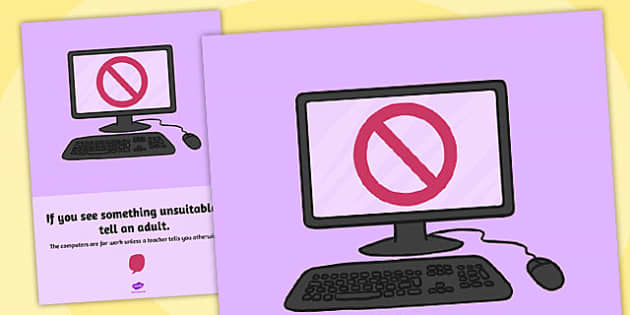 Computing Area Reminder Poster Tell an Adult - poster, computer