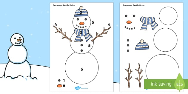 Beetle Drive to Support Teaching on The Snowman - the snowman, beetle drive, winter, snowman, snow, design, matching, games, activities, puzzles, winter themed games, frosty the snowman