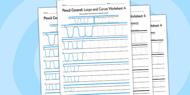 Pencil Control Loops And Curves Worksheet 4 - pencil control