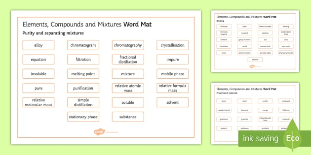 OCR Gateway Chemistry Elements, Compounds and Mixtures Word Mat - Word Mat, gcse, keywords, Purity and separating mixtures, Bonding, Properties of materials