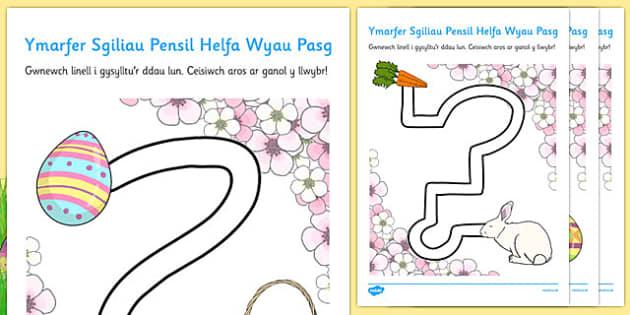 Ymarfer Sgiliau Pensil Helfa Wyau Pasg - welsh, cymraeg, sgiliau pensil, ymarfer, pasg, pensil