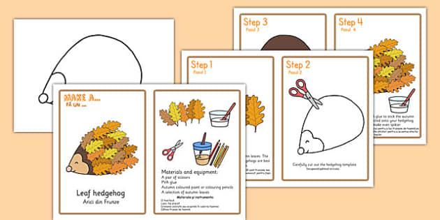 Leaf Hedgehog Craft Instructions Romanian Translation - romanian, leaf, hedgehog, craft, instructions