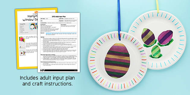 Egg Window Decoration Craft EYFS Adult Input Plan and Craft Pack - egg, window, decoration, craft