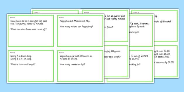Maths Problem Cards Year 3 - maths problem cards, numeracy problem cards, maths problems, numeracy problems, maths scenarios cards, year 3 scenario cards, year 3 maths cards, year 3 different maths scenarios cards, maths question cards