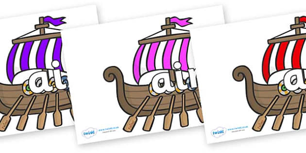 Phase 3 Phonemes on Viking Longboats - Phonemes, phoneme, Phase 3, Phase three, Foundation, Literacy, Letters and Sounds, DfES, display