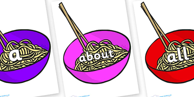 100 High Frequency Words on Chinese Noodles - High frequency words, hfw, DfES Letters and Sounds, Letters and Sounds, display words
