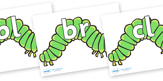 Initial Letter Blends on Hungry Caterpillars to Support Teaching on The Very Hungry Caterpillar - Initial Letters, initial letter, letter blend, letter blends, consonant, consonants, digraph, trigraph, literacy, alphabet, letters, foundation stage li