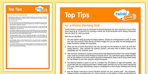 Using Twinkl Create for a Maths Working Wall Top Tips