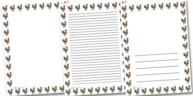 Cockerel Portrait Page Borders- Portrait Page Borders - Page border, border, writing template, writing aid, writing frame, a4 border, template, templates, landscape, year of the rooster, Chinese new year