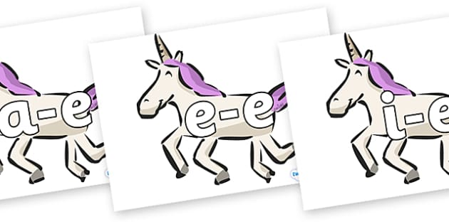 Modifying E Letters on Unicorns - Modifying E, letters, modify, Phase 5, Phase five, alternative spellings for phonemes, DfES letters and Sounds