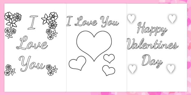 Valentine's Day Card Colouring Templates - valentines day, colour