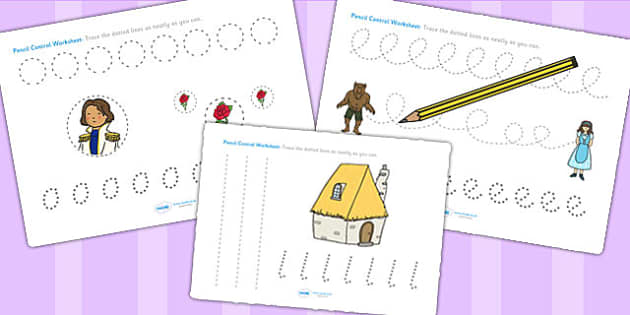 Beauty and the Beast Pencil Control Sheets - fine motor skills
