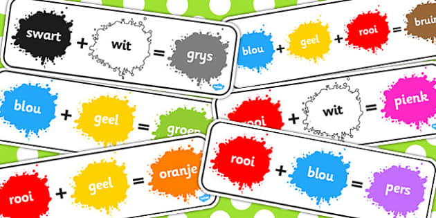 Afrikaans Colour Mixing Pack - afrikaans, colour, mixing, pack