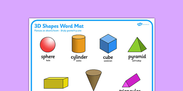 3D Shape Word Mat Polish Translation - polish, 3d shape, word mat, word, mat, 2d, shape