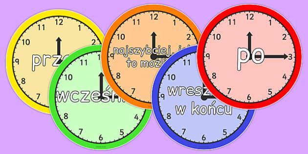 Przyimki czasu na zegarze po polsku - czas, godzina