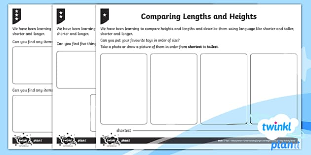 Understanding Length and Height Home Learning Tasks - Measurement, length and height, home learning, homework, compare, describe, vocabulary