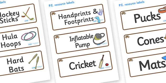 Hedgehog Themed Editable PE Resource Labels - Themed PE label, PE equipment, PE, physical education, PE cupboard, PE, physical development, quoits, cones, bats, balls, Resource Label, Editable Labels, KS1 Labels, Foundation Labels, Foundation Stage L